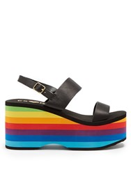 Es X Rd Copa Leather Wedge Sandals Black Multi