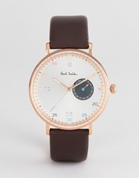 Paul Smith Ps0060005 Gauge Leather Watch In Brown 41Mm