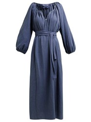 Loup Charmant Textured Organic Cotton Gauze Midi Dress Dark Blue