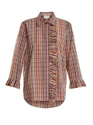 Isa Arfen Ruffle Trimmed Checked Cotton Shirt Multi
