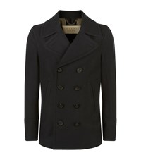 Burberry Brit Wool And Cashmere Pea Coat Male Navy