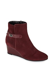 Aquatalia By Marvin K Julianna Suede Wedge Ankle Boots Sangria