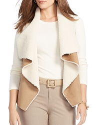 Lauren Ralph Lauren Plus Faux Fur And Faux Suede Vest Brown Cream