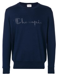 Paolo Pecora Perforated Logo Sweatshirt Blue