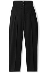 Nili Lotan Reta Cropped Wool Blend Twill Straight Leg Pants Black