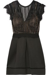 Catherine Deane Ina Pleated Lace And Cotton Blend Neoprene Dress Black