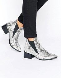 Sol Sana Rico Snake Printed Leather Heeled Ankle Boots Black White Snake Pr Multi