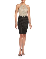Blondie Nites Beaded Halter Cocktail Dress Nude Black