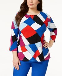 Alfred Dunner Plus Size Embellished Top Multi