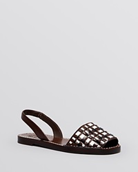 Tory Burch Open Toe Flat Slingback Sandals Emori Coconut Brown New Ivory Black