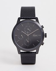Lacoste. 12.12 Silicone Watch In Black With Black Dial