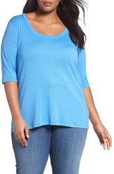 Sejour Plus Size Women's Elbow Sleeve Scoop Neck Tee Blue Regatta