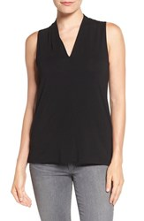 Vince Camuto Women's Sleeveless V Neck Top Rich Black