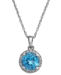 Macy's Blue Topaz 1 1 2 Ct. T.W. And Diamond Accent Pendant Necklace In 14K White Gold