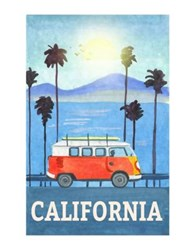 Marmont Hill Cali Orange Bus Painting Print On Wrapped Canvas Blue
