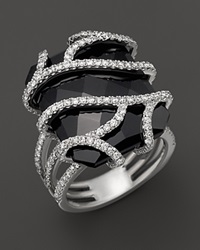 Bloomingdale's Diamond And Black Onyx Ring In 14K White Gold 1.20 Ct. T.W. No Color