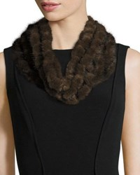 Surell Mink Fur Crocheted Cowl Brown