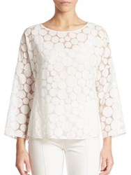 Akris Punto Sheer Dot Blouse Cream