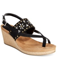 Styleandco. Style And Co. Jazzmine Embellished Slingback Wedge Sandals Only At Macy's Women's Shoes Black