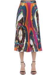 Versace Plisse Printed Satin Midi Skirt Multicolor