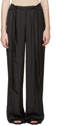 Cedric Charlier Black Satin Wide Leg Trousers