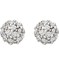Astley Clarke Pava Ball Halo Stud 14Ct White Gold And Diamond Earrings