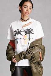 Forever 21 Ripped California Graphic Tee White