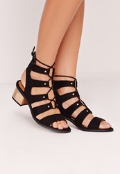Missguided Low Bold Block Heel Lace Up Sandal Black Black