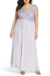 Sangria Plus Size Women's Lace And Chiffon Surplice Gown Dusty Purple