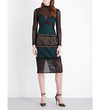 Self Portrait Forest Fitted Mesh Midi Dress Forest Green