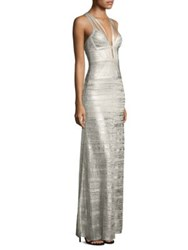 Herve Leger Metallic Bandage Gown Silver Combo