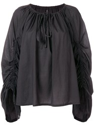 Plein Sud Jeans Ruched Sleeve Blouse Black