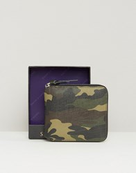 Smith And Canova Zip Round Leather Wallet In Camo Green