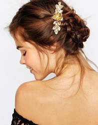 Orelia Flower And Pearl Barrette Hair Clip Gold