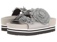Suecomma Bonnie Flower Detailed Flat Platform Grey Women's Sandals Gray