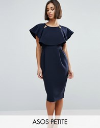 Asos Petite Double Layer Wiggle Dress With Cut Outs And Angel Sleeve Navy