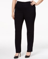 Charter Club Plus Size Flocked Dot Print Pants Only At Macy's Deep Black Combo