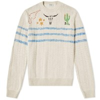 Saint Laurent Wild West Crew Knit White