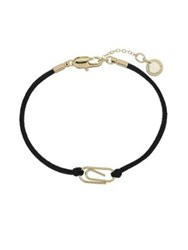 French Connection Paper Clip Leather Cord Bracelet Black Gold