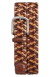 Torino Belts Men's Big And Tall Woven Leather Belt Cognac