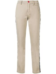 History Repeats Side Stripe Fitted Trousers Neutrals