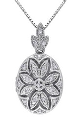 Sterling Silver Diamond Detailed Oval Locket Pendant Necklace 0.10 Ctw Metallic