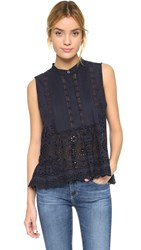 Sea Sleeveless Eyelet Top Navy