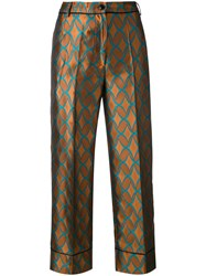 Jucca Geometric Print Cropped Trousers Women Cotton Polyester 42 Brown