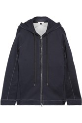 Marni Oversized Cotton Blend Jersey Hooded Top Midnight Blue