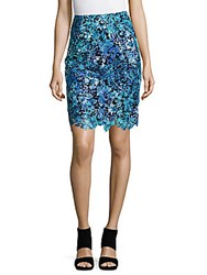 Elie Tahari Carolina Lace Skirt True Navy