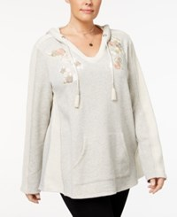Style And Co Plus Size Embroidered V Neck Hoodie Created For Macy's Floral Apple Blush