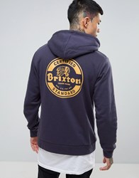 Brixton Soto Hoodie With Back Print Navy