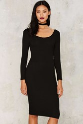 Glamorous Dominique Ribbed Midi Dress Black