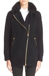 Women's Burberry Brit Asymmetrical Zip Wool And Cashmere Sweater Jacket With Genuine Shearling Collar